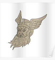 Norse God Odin Head Drawing Poster