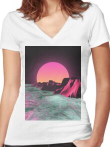 80's  R I S E R Women's Fitted V-Neck T-Shirt