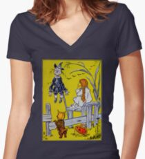 """""""Dorothy gazed thoughtfully at the Scarecrow."""" Women's Fitted V-Neck T-Shirt"""