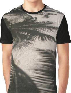 Shadows of Palm Trees on White Sand Beach on Tropical Belize Island Graphic T-Shirt
