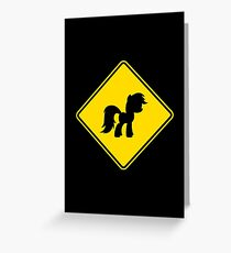 Pony Traffic Sign - Diamond Greeting Card