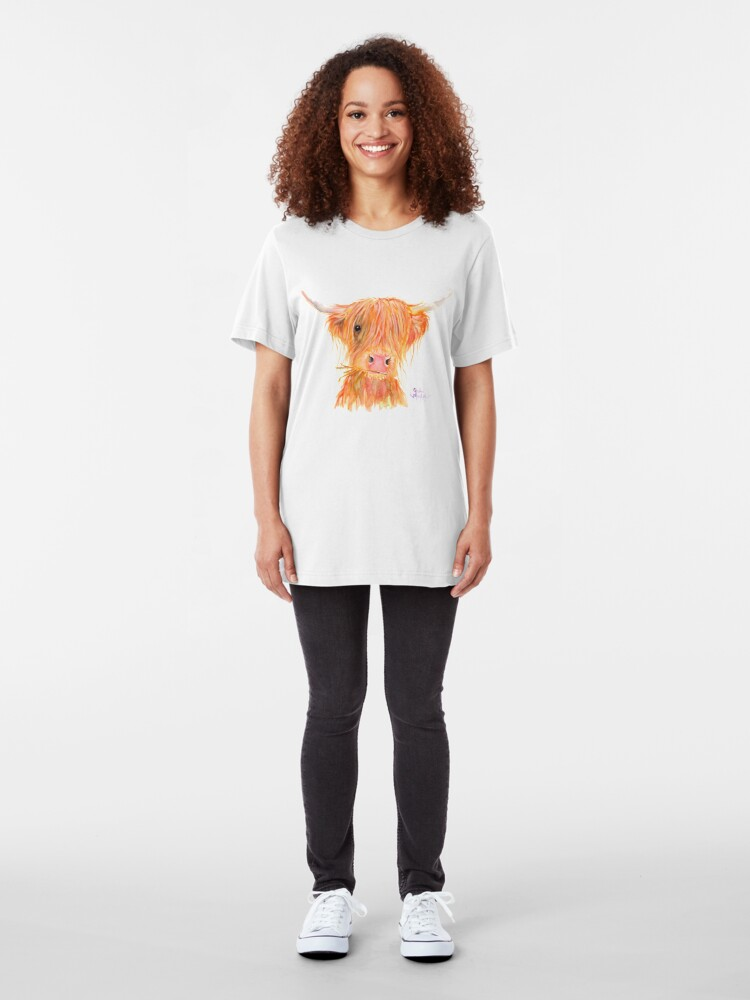 Alternate view of SCOTTISH HIGHLAND COW 'FERGUS' By Shirley MacArthur Slim Fit T-Shirt