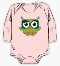 Cute Green Owl  One Piece - Long Sleeve