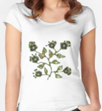 Floral pattern green Women's Fitted Scoop T-Shirt