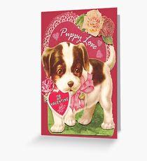 Valentine's Day , Puppy Love, Vintage Card Greeting Card