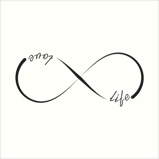 Love Life Infinity Symbol Art Prints By Pixxart Redbubble