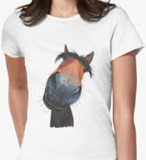 HORSE PRiNT 'HAPPY DAVE' BY SHIRLEY MACARTHUR Women's Fitted T-Shirt