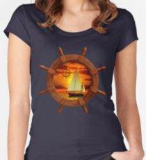 Sailboat Sunset Women's Fitted Scoop T-Shirt