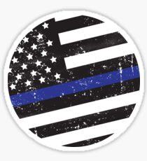 Blue Line Circle Flag Sticker