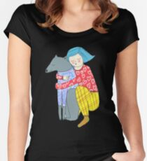 Girl and her dog Women's Fitted Scoop T-Shirt