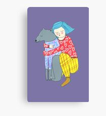 Girl and her dog Canvas Print