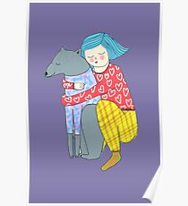 Girl and her dog Poster