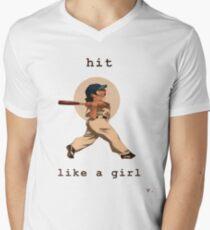Hit Like a Girl Men's V-Neck T-Shirt