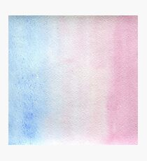 Watercolor texture light blue and pink Photographic Print