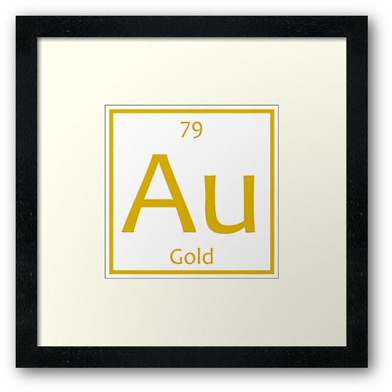 Gold Au Chemical Symbol Framed Prints By The Elements Redbubble