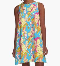 Electric Banana Monkey Pattern A-Line Dress