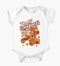 """Uh oh"" Spaghetti O's Short Sleeve Baby One-Piece"