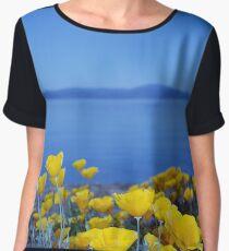 Blue Sky Yellow Flowers Chiffon Top