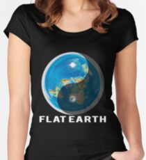 Flat Earth Yin and Yang  Women's Fitted Scoop T-Shirt