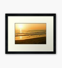 Glossy Gold and Surfers - Sunset on the Beach in California  Framed Print