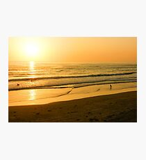 Glossy Gold and Surfers - Sunset on the Beach in California  Photographic Print