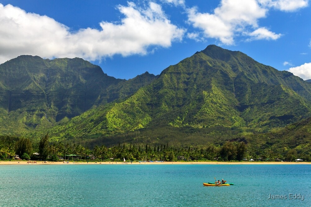 Kayaks In Hanalei Bay by James Eddy