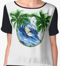 Surfer And Palm Trees Chiffon Top