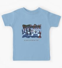 BLACK AND WHITE GEOMETRIC OUTDOOR CHESS BOARD GAME  Kids T-Shirt