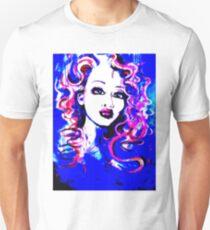 Raw Looks - Woman's Face Painting Digital Half Tone T-Shirt
