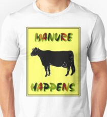 MANURE HAPPENS: Comical Abstract Sign Print Unisex T-Shirt