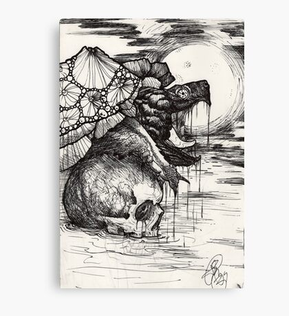 snapping turtle pen and ink Canvas Print