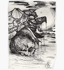 snapping turtle pen and ink Poster