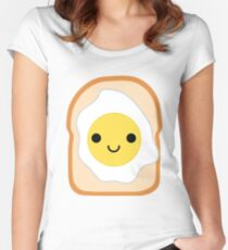 Bread with Egg Emoji Happy Smiling Face Women's Fitted Scoop T-Shirt