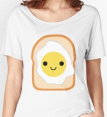 Bread with Egg Emoji Happy Smiling Face Women's Relaxed Fit T-Shirt