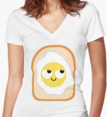 Bread with Egg Emoji Think Hard and Hmm Women's Fitted V-Neck T-Shirt