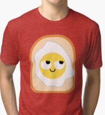 Bread with Egg Emoji Think Hard and Hmm Tri-blend T-Shirt
