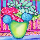Flowers by the pool by marlene veronique holdsworth
