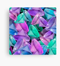 Placer precious stones Black background . Diamonds .  Canvas Print