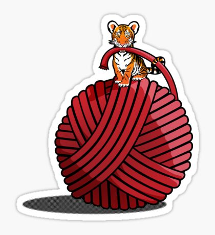 Tigers ball of Yarn Sticker