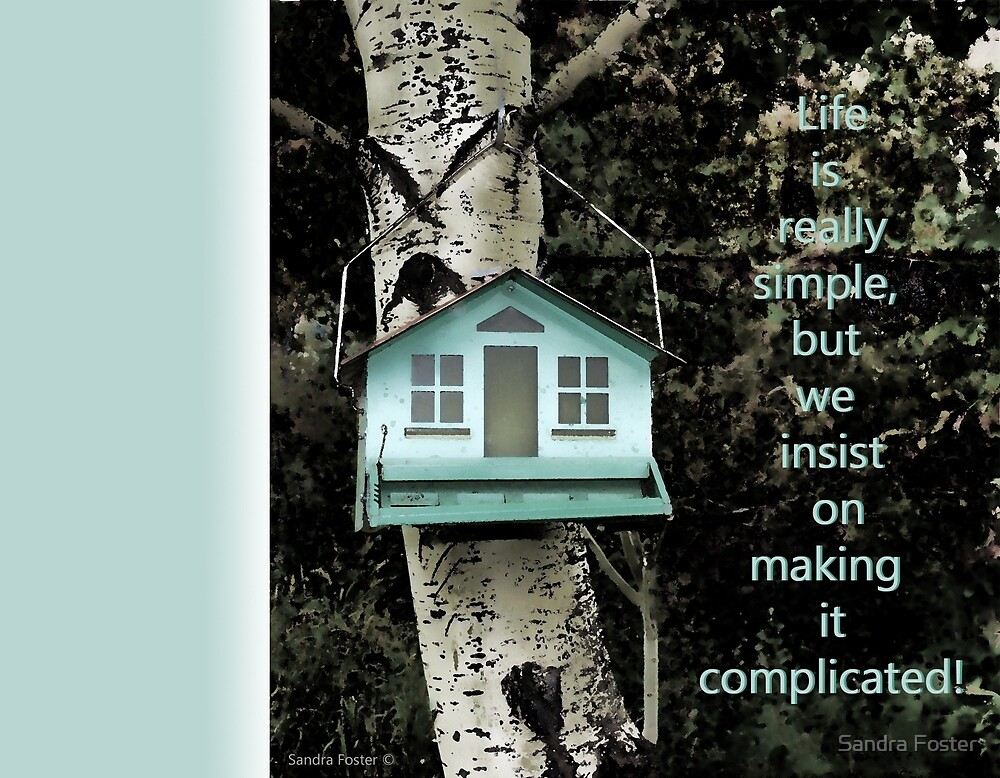 Life is really simple ... quote using bird feeder. by Sandra Foster