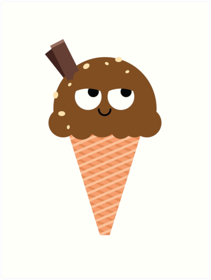 Ice Cream Emoji Think Hard And Hmm Art Prints By Teeandmee Redbubble