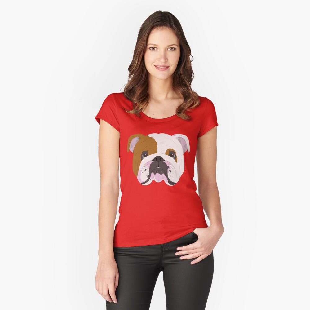 English Bulldog Cute Dog Portrait Illustration Fitted Scoop T-Shirt