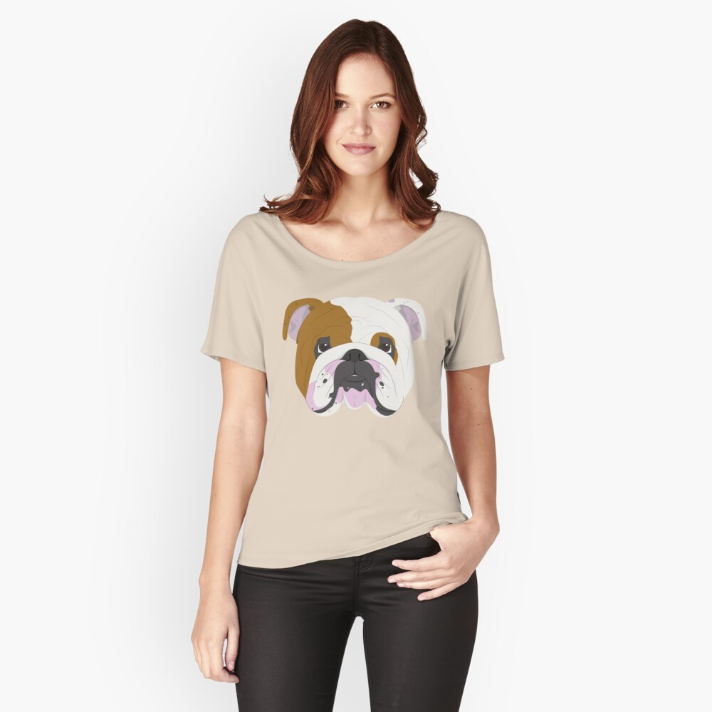 English Bulldog Cute Dog Portrait Illustration Relaxed Fit T-Shirt