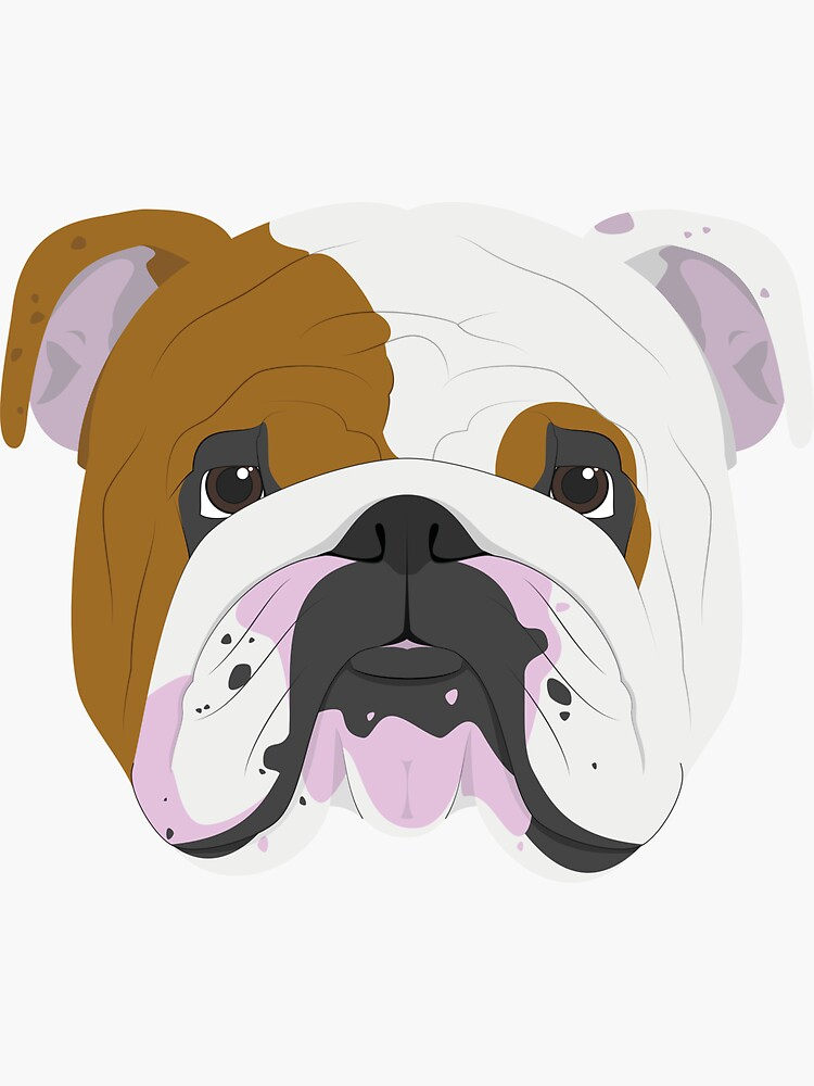 English Bulldog Cute Dog Portrait Illustration by junkydotcom