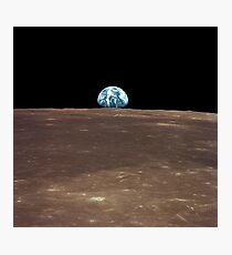 Earth rising above the Moon's horizon. Photographic Print