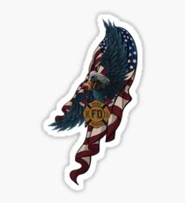 Firefighter Fireman Paramedic Rescue Patriotic Hero Eagle Flag USA Fire red white blue Sticker