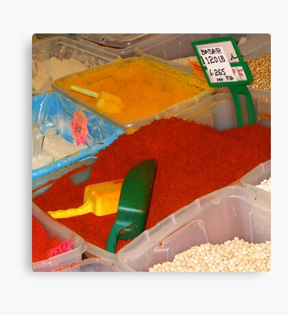 Vibrant coloured spices on the Leeds Kirkgate market Canvas Print