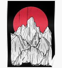 The red sun and the mountain Poster