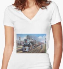 Penn Central pacific. Women's Fitted V-Neck T-Shirt
