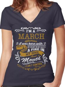 I'm a March women Women's Fitted V-Neck T-Shirt